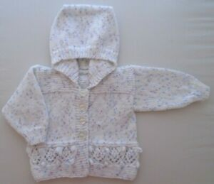 3-6m Baby Girls Hand Knitted Hooded Jacket White Lilac Blue Fleck