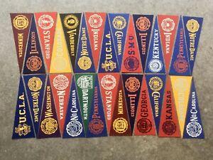 Vintage College Mini Pennant Flags Lot Of 30 Felt Vanderbilt UCLA Cal Notre Dame