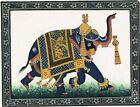 Caparisoned Elephant with Peacock Print Jhul and Seeri Rajasthani Miniature Art