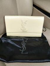 YSL Belle de Jour Yves Saint Laurent Patent Leather Clutch Bag Cream Beige Purse