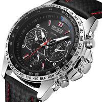 MEGIR Mens Military Stainless Steel Case Analog Sport Quartz Wrist Watch Leather