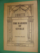 Opera Libretto The Barber of Seville Gioacchino Rossini  English text