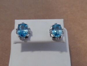 Blue Zircon & White Topaz Sterling Silver Stud Earrings Natural 4.12cts Cushion