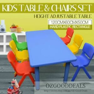 120CM Kids Large Toddler Activity Study Dining Playing Table Desk & 6 8 Chairs