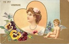 Valentine Greeting Nude Cupid With Bow And Woman's Face Antique Postcard V17298