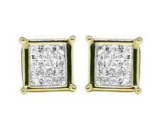 10K Yellow Gold Invisible Princess Real Diamond Square Stud Earrings 7MM 0.33ct