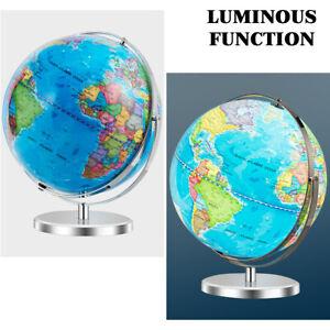 "13"" Illuminated World Globe 720° Rotating Study Cartography Map W/ LED Light"