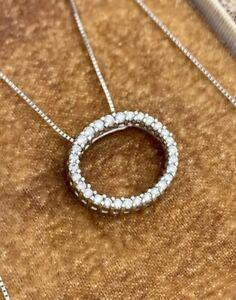 14k White Gold Round Diamond Circle of Love Oval Halo Eternity Pendant Necklace