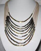 Statement Collier, Halskette, XXL, Glitzer, beige-schwarz-gold-farben,mehrreihig