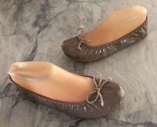 Gap Camel Patent Bow City Rolled Ballet Flats Faux Leather Sz. 7 *VGUC
