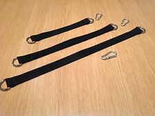 Set Of 3 Double Ended 4mm Metal D Ring Straps Rucksack Fixing Accessory B