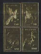 Tanzania Prehistoric/Dinosaurs 4v GOLD set b4832a