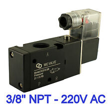 3/8 Inch Pneumatic 3 Way Electric Directional Control Air Solenoid Valve 220V AC