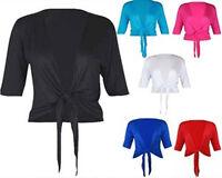 NEW WOMENS  PLUS SIZE TIE FRONT SHRUG 3/4 SLEEVE CROP CARDIGAN BOLERO TOPS 12-26