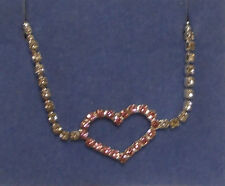 """Bracelet /Pink 8"""" end to end Avon Sparkling Chain With Rhinestone Heart Accent"""
