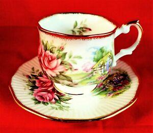 QUEENS Cup & Saucer ROSINA China ROSE COTTAGE Vintage DELIGHTFUL