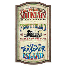 Walt Disney World Frontierland Attractions Magic Kingom Wood Wall Sign New