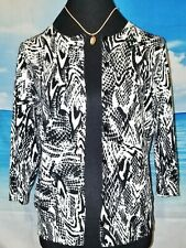 DESIGNERS ORIGINAL Womans BLACK & WHITE Lightweight Cardigan PETITE size PL