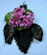 21 Vtg Millinery Purple Velvet Violet Flowers Corsage Leaves Hat Antique Doll