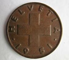 - 2 Rappen Jahrgang 1951 Münze aus der Schweiz +++