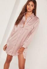 Missguided Satin Front Split Shirt Dress Nude Pink Size 14