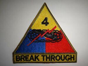 États-Unis Armée Patch 4th Armored Division De Avec Languette Breakthrough