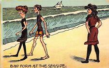 Bad Form at the Seaside~Bathing Beauty Mocks Skinny Pair~How We Looked~1908
