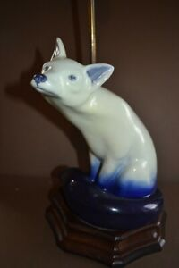 Royal Doulton very rare Blue Flambe' large Fox seated mounted on wood lamp base