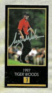 TIGER WOODS, 1997 GRAND SLAM VENTURES ROOKIE CARD WITH SCOREBOARD AUTO & COA