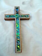 "Small Egyptian Paua Shell Blue Green Handmade Inlaid Wooden Cross 7"" # 220"