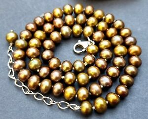 Golden bronze hand knotted freshwater pearl necklace sterling silver clasp