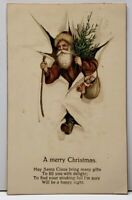 Santa Claus Father Christmas With Tree and Bag of Toys Amag c1906 Postcard F15