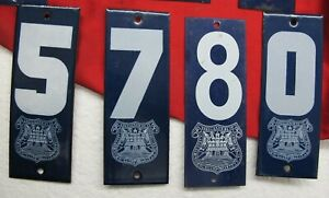 Vge MEXICO set 4 Pz. blue enameled steel metal house street door numbers 5780