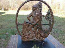 "Indian Hunter Cast Iron Doorstop/ Plaque 1931 Large & Great Detail ""Rare"""