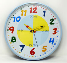 Blue Teach The Time Wall Clock Novelty Childrens 30cm Bedroom Learn Kids Bright