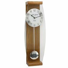 Oak Pendulum Wall Clock - Glass Front