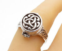 PETER STONE 925 Silver - Vintage Celtic Knot Locket Ring Sz 7 (OPENS) - RG3896