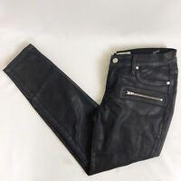Henry & Belle Women Petite 28P Black Wax Super Skinny Ankle Moto Pants