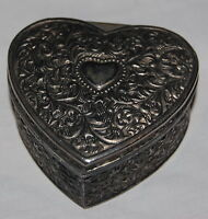 Vintage Silver Metal Filigree Heart Trinket Jewelry Box 3.5""