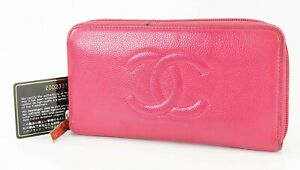 Auth CHANEL Salmon Pink Caviar Leather CC Long Zippy Wallet Coin Purse #40468