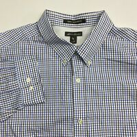 Eddie Bauer Button Up Shirt Men's Size 3XL XXXL Long Sleeve Blue White Checkered
