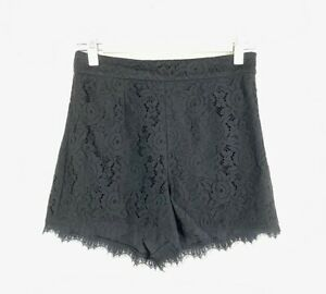 DVF Diane Von Furstenberg Size 0 NEW Shorts Lace Flat Front Lined Fausta Black