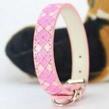 Shiny Glitter Plaid Bling Powder  Pu Leather Dog Collars For Small Medium Dogs