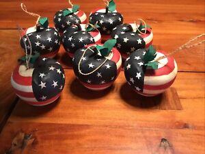 Folk Primitive American Flag Apples Art 8 Pieces Ornaments Wooden