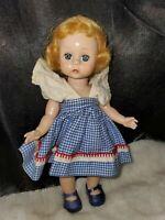 Blue dress 1950s, Vintage Madame Alexander, Kins,  Doll, ALEX  blonde walker