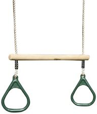 Rebo Children's Wooden Gymnastic Trapeze Bar Swing with Kids Gym Rings - Green