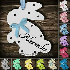Personalised Tiny Easter Bunny Rabbit Wooden Hanging Gift Tag Egg Hunt Plaque