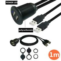 1m Dual USB 2.0 Panel Flush Mount with LED light Extension Cable for Car Truck B