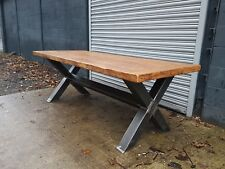 Rustic Industrial Reclaimed X Frame Dining Table (solid oak plank top)