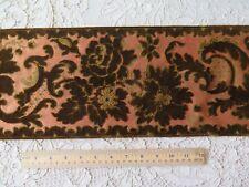 "Antique French 1870 Sienna Silk & Olive Brown Cut Velvet Floral Border~131""X7"""